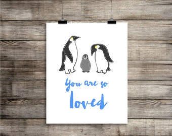 Penguins Blue 'You are so loved' - Printable Art Illustration Nursery Art for 8x10 print - INSTANT DIGITAL DOWNLOAD