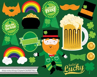 St. patrick's Day Clip Art for commercial and personal use shamrocks four leaf clovers leprechaun pot gold beer mug clipart instant download