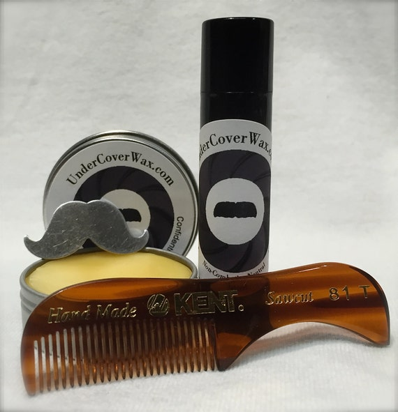 mustache grooming kit with kent 81t comb by undercoverwax on etsy. Black Bedroom Furniture Sets. Home Design Ideas