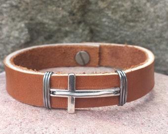 FREE SHIPPING- Men's Cross Bracelet, Men's Leather Bracelet,  Light Brown Leather Bracelet, Men's Cuff bracelet, Bracelets for Men, Bangle