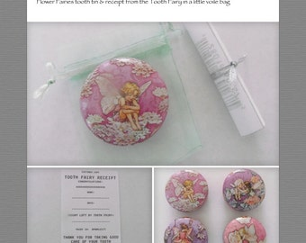 Pretty Flower Fairies Tooth Tin & 'Receipt' (which can be customised) from the Tooth Fairy.