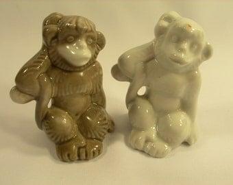 """3"""" Vintage Porcelain Figurines """"Two monkeys"""" made in USSR"""