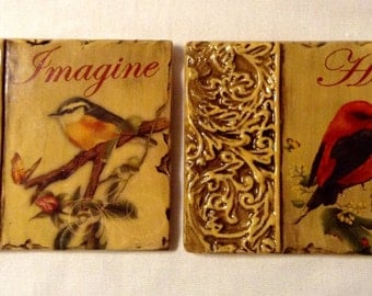 Imagine & Hope Bird Wall Hangings - Set of 2