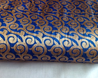 2 1/2 yards Blue Brocade Fabric, Indian Silk Fabric, Indian Fabric, Wedding Fabric, silk Brocade Fabric, Dress Fabric