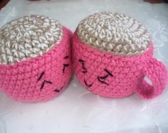 2 crochet mugs with coffe,amigurumi, crochet toys,kawaii :)
