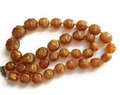 Vintage Brown Bead Necklace, Jewelry Amber Color Moulded Beads , Brown Plastic Necklace , 1940s Jewelry