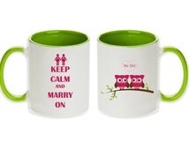 Lesbian Wedding Gift Pair of Unique We Do Keep Calm and Marry On Mugs  (Light / Lime Green - 2pcs) -  Ships within 2 Days!