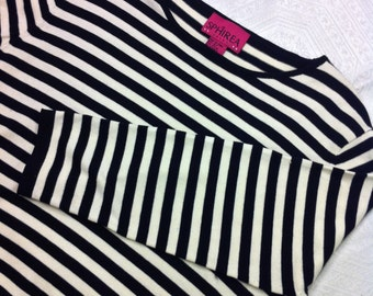 Vtg New M - L Black and White Striped Stretchy Top