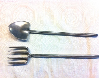 Vtg New Pewter Salad Spoon Fork Shovel and Spade Gardening Servers