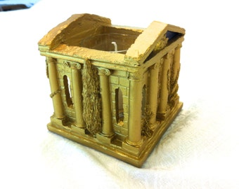 Vtg NEW Greece Roman Temple Gold Votive Candle Holder