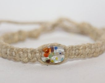 Handmade Hemp Bracelet - Natural with Multicolored Bead