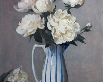 Peonies in Blue-striped Vase, Oil on Canvas, 18 by 15 in., Unframed