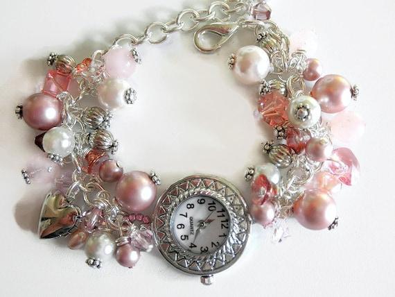 Victorian Watch Bracelet, Silver Watch Bracelet, Victorian Pearl Bracelet,Victorian Jewelry,Edwardian Jewelry