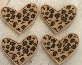 "4 cheetah leopard print heart felties 1.5"""