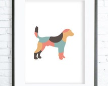 Mint and Coral Printable Dog Art Print, Dog Lovers Gift, Mint Pointer Silhouette Print, digital art, DOG print, Dog Art