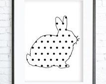Polka Dot Rabbit, Rabbit Print Art,  modern art, digital art, Print,Black and White, Rabbit art, Rabbit print