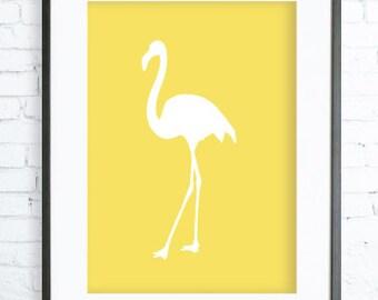Yellow Flamingo Print , Instant Download Printable, Yellow Wall Art - Flamingo Art - Flamingo Poster