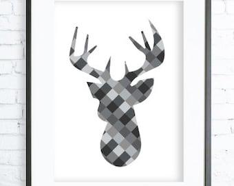 Gray, Gray print, Instant Download Printable,Grey Print Art,  modern art, digital art, Print, Deer art, Deer print