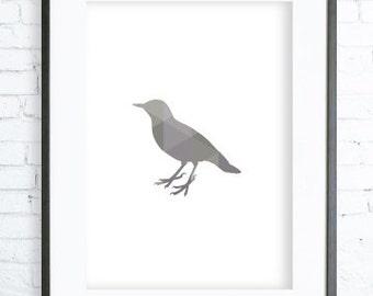 Gray Bird, Geometric Bird Print, Printable Bird,Bird Poster, Bird Print Art, Bird modern art, digital art Bird, Print,Bird art, Bird print