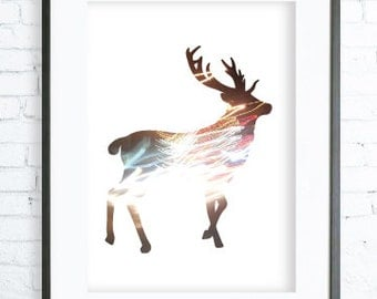 Colorful Deer, Instant Download Printable, Print Art Deer,  modern art , digital art, Print, Deer art, Deer print