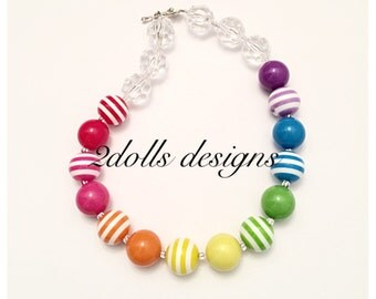 Rainbow Stripes chunky necklace, Bubblegum necklace, Rainbow necklace, Stripe necklace, Beaded necklace, Birthday necklace,Skittles necklace