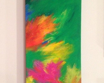"Green Abstract Painting, 24x8, ""Lime & Fireworks"""