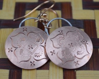 Copper Earrings with Stamped Design
