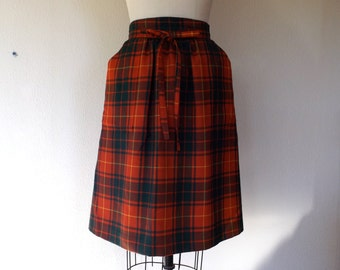 Vintage tartan plaid wool skirt