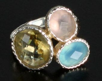 Hand Made Sterling Silver Artisan Ring with Blue Chalcedony, Lemon Quartz and Rose Quartz Freeform Gemstone Ring 7