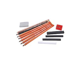 12 pc Charcoal Pencil Sketch Kit, Sketching Pencils Set, Drawing Kit, Charcoal Pencils Set; Sketching, Scrapbooking, Blending Pencils