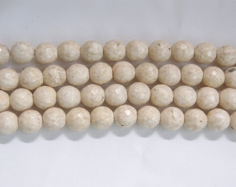 6mm,7.5mm,10mm Faceted Round Fossil Jade/River Stone Cream Gemstone Bead--15 inch strand