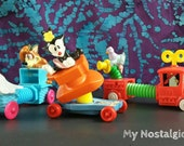 Vintage Trio of Stretcher Toys ~ McDonald's Happy Meal Toys ~ GoodFeather Firetruck ~ Dot ~ Mindy & Max, Buttons Buggy ~ 1990's