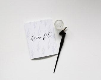 Bonne Fete Lavender Card - Happy Birthday / Birthday / French Card