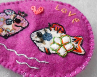 Say it with Fish Love hand embroidered felt magnet
