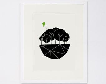 TINY WORLD No. 3, Linocut Print