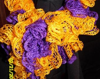 Handmade Purple/Gold Sashay Ruffle Scarf