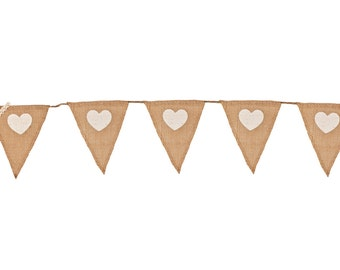 Hessian Heart Bunting