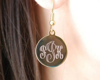 Silver Plated Earring / Custom Monograme Engraved