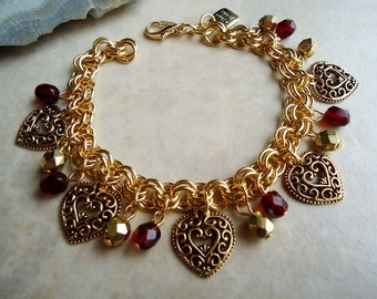 Heart Charm Bracelet.Red Garnet Crystals.Bridal.Chain plated in 24 Karat Gold.Valentine,Mother's Day.Friendship.Birthday.Beadwork. Handmade.