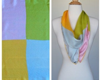 Vintage Silk Color Block Yellow, Blue, Green, Pink, Judy's Scarf Made In Italy 1960's