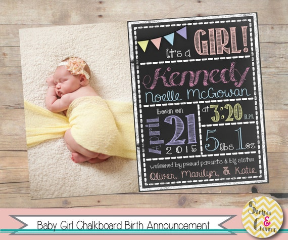 Baby girl birth announcement Printable Chalkboard baby – Baby Announcement Card Templates