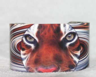 Tiger Cuff Bracelet, Custom Made Tiger Design, Item# B0610