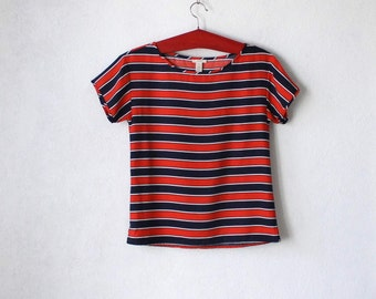 Silk Shirt Dark Blue Red Striped Top Blouse Marine Short sleeves Small Size