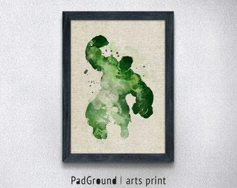 Hulk Art Print, Avengers Poster, Marvel, Burlap Art Print, Canvas Print, Home Wall Decor, Natural Linen Print Art with Frame-SP56