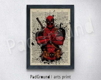 Deadpool Art Print, Avengers Poster, Marvel, Wall Decor, Burlap Print, Home Decor, Wall Decor, Gift, Natural Linen Print Art with Frame-SP82