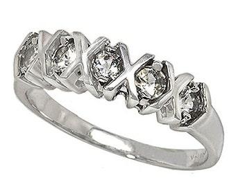 14k White Gold Ring Hugs and Kisses Ring with White Topaz.  (R603)