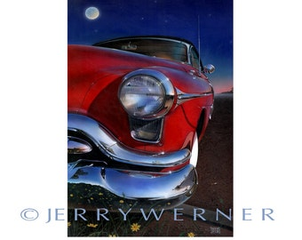 54 Old's car painting, oil painting, mixed medium, acrylic painting, giclee, art print, poster art, realism art, photo realism Jerry Werner