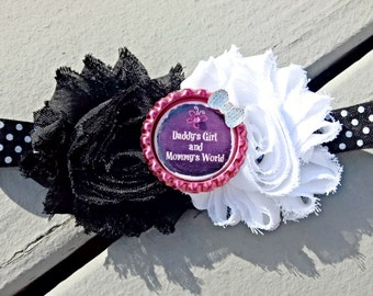 Daddy's Girl, Mommy's World Shabby Flower Bottle Cap Headband