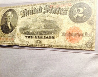 Excellent 1917 2 Dollar Bill, Very Old Currency!
