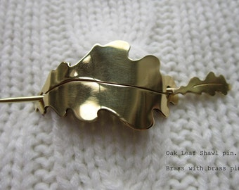 Handmade Shawl Pin / Hair barrette - Oak Leaf